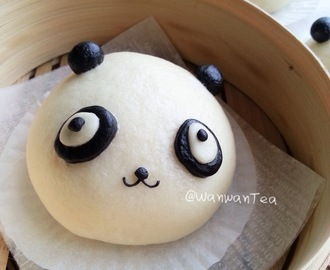 熊猫黑芝麻包子Panda Deco Steamed Buns With Black Sesame Filling