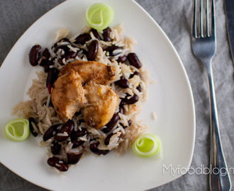 Jerk chicken met 'peas and rice'
