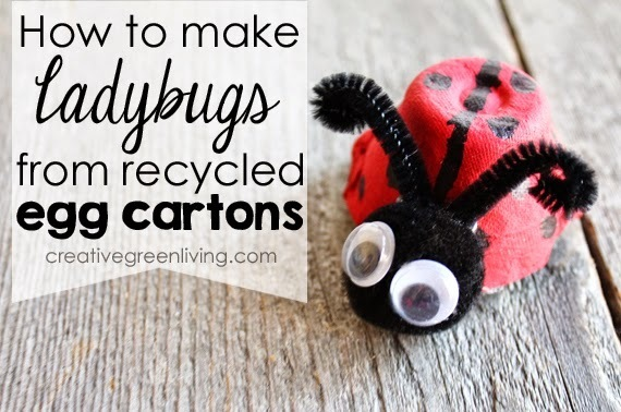 {Kids Craft} How to Make Ladybugs from a Recycled Egg Carton