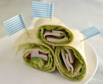 Wraps met avocado pesto en kip