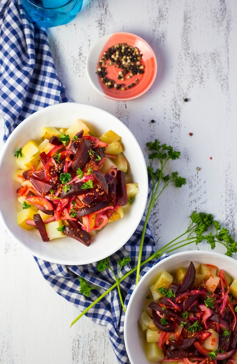Ye'Denich Be'Kaysir Atakilt (Potatoes with Pickled Beets & Lime Vinaigrette) + A Cookbook Review