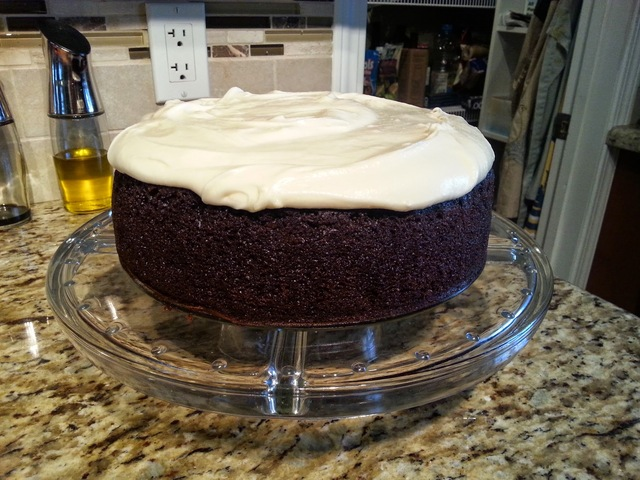 Dark Chocolate Guinness Cake with Baileys Cream Cheese Frosting