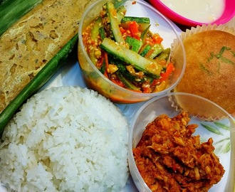 Nasi Lemak, Otah, Sambal Chilli, Corn Kueh, & Curry Bun with Ayam Brand