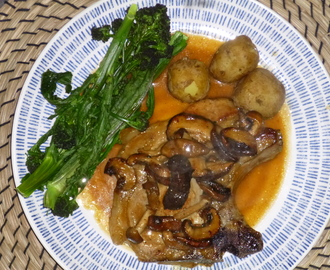 Pork Chops in a Mushroom, Honey and Mustard Sauce with Tenderstem Broccoli and Jersey Royals Recipe