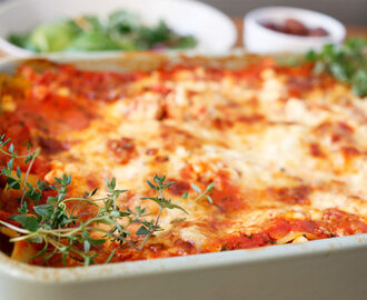Vegetarlasagne med cottage cheese