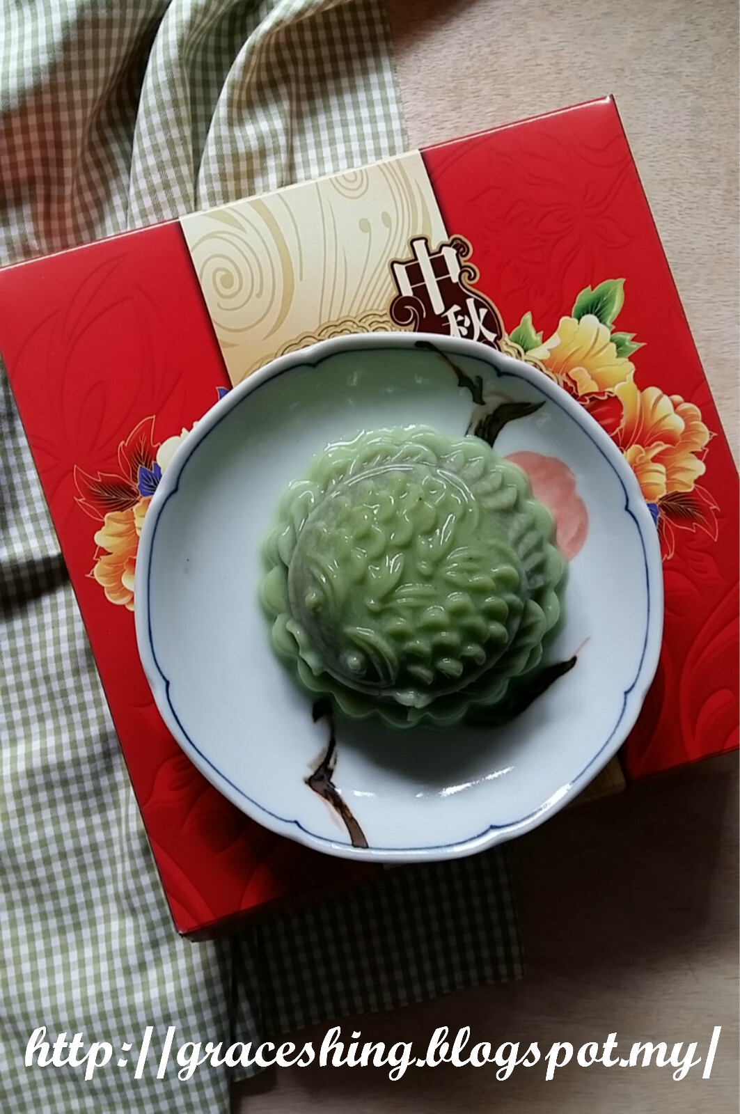 绿茶红豆燕菜月饼 Green Tea Red Bean Jelly Mooncake