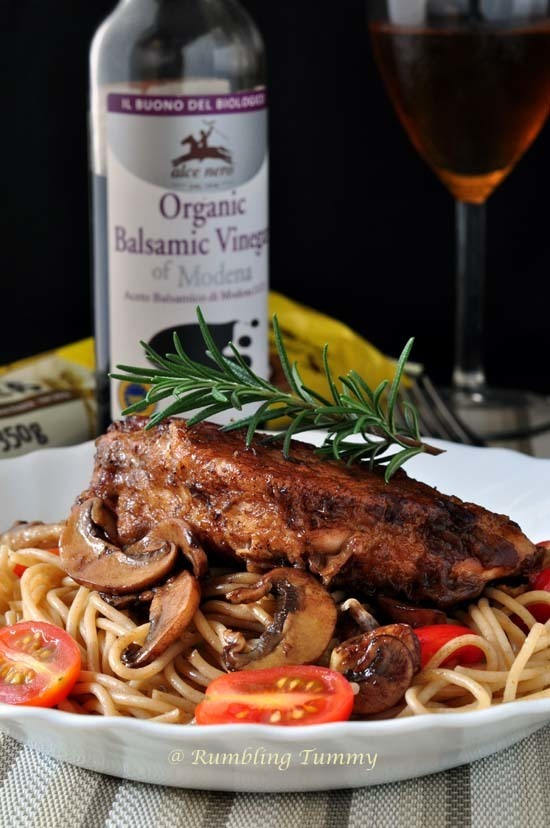 Balsamic Vinegar Chicken with whole wheat pasta + Giveaway