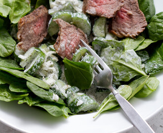 Let's Eat | Tri Tip Spinach Salad with a Creamy Cucumber Dill Dressing