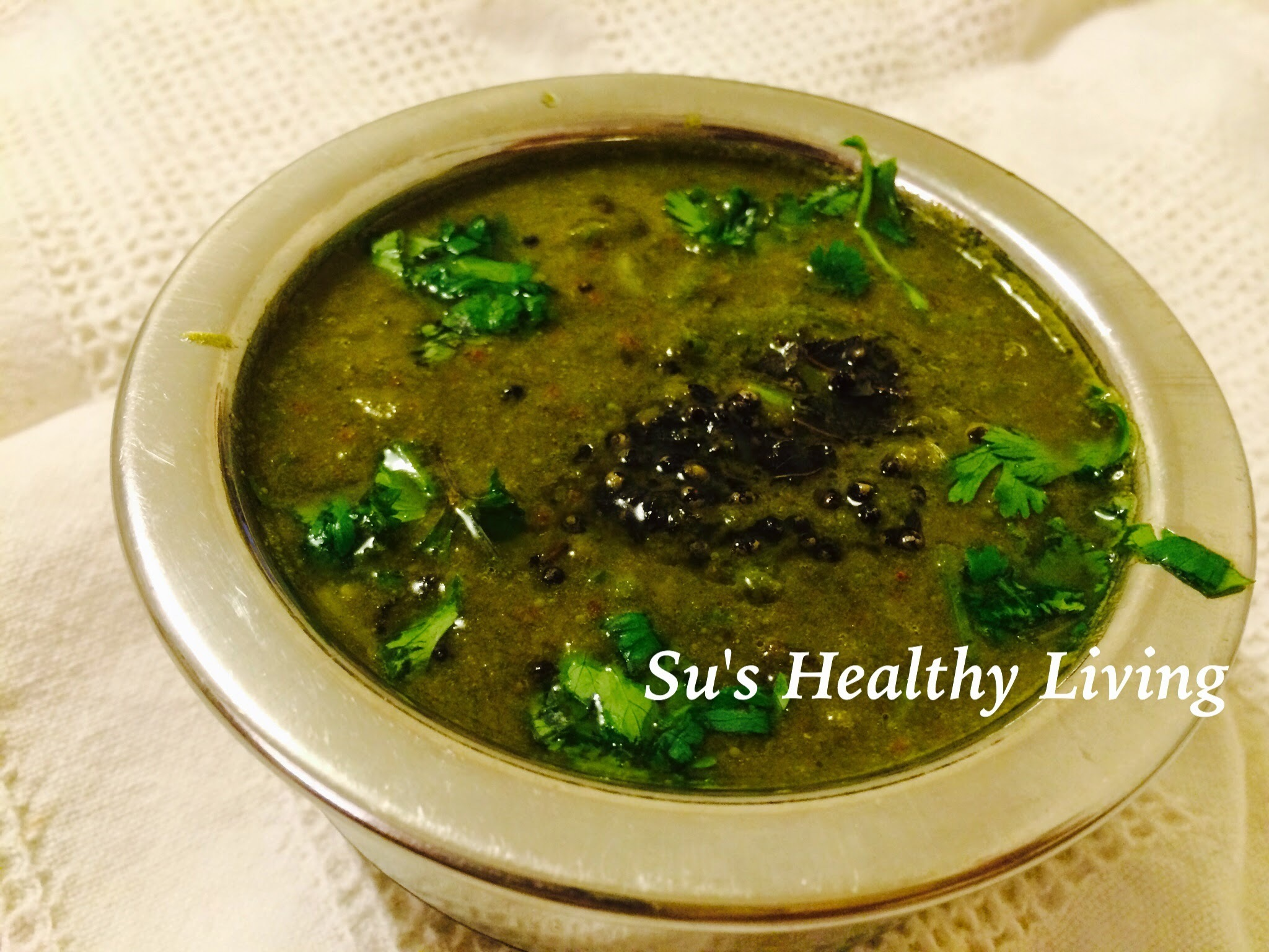 Kothambari Saaru ( Cilantro soup/ coriander leaves soup); Meatless Monday
