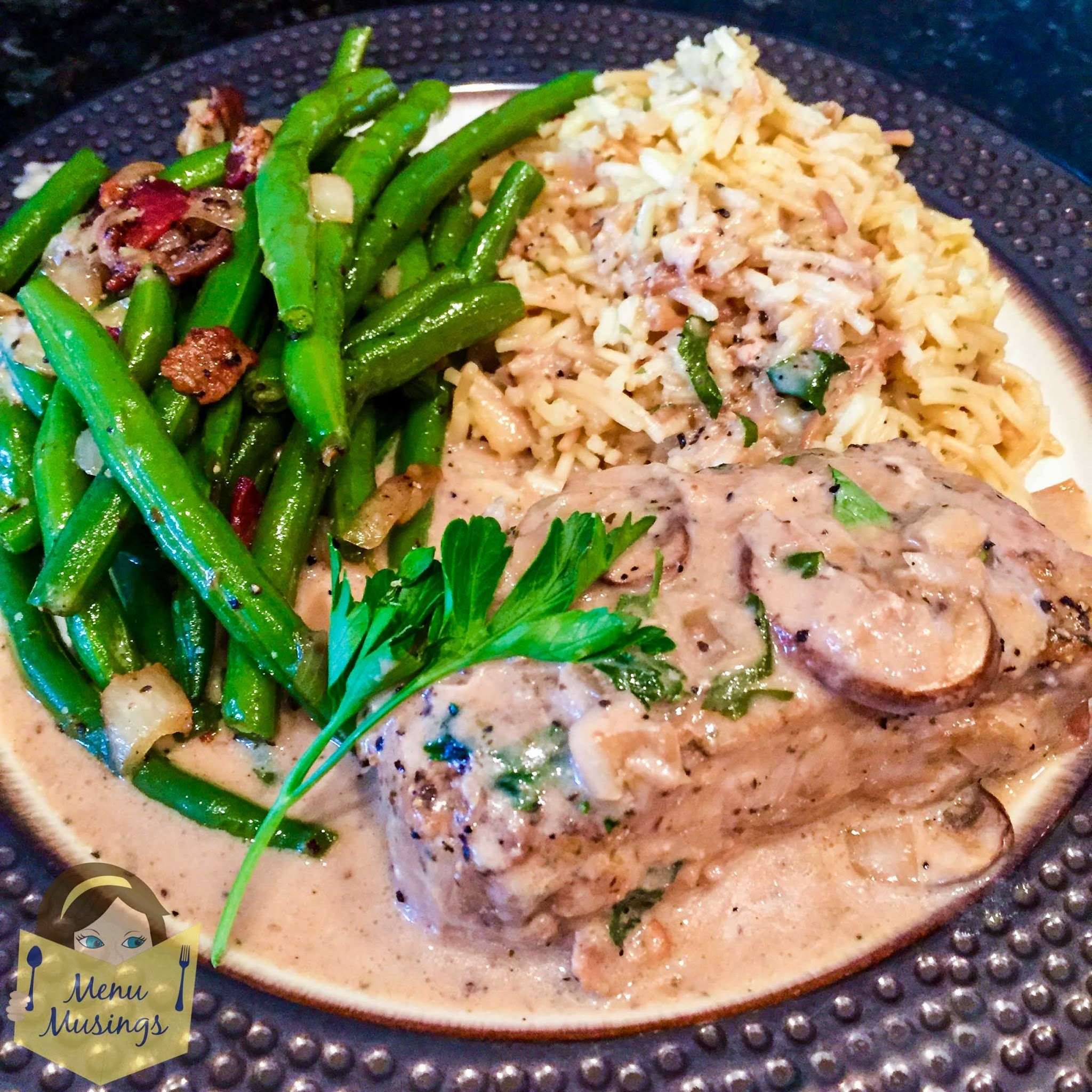 Pork Loin Chops with Port Wine Mushroom Cream Sauce