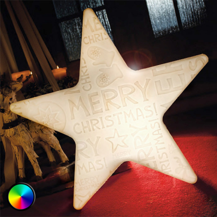 LED-stjärna Shining Star Merry Christmas