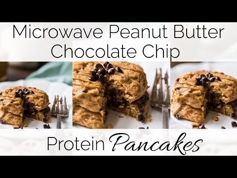 Microwave Peanut Protein Pancakes with Chocolate Chips VIDEO {Gluten/Grain Free, Super Simple, Low Fat + Low Calorie}