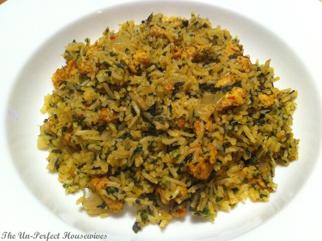 "Steam Cooked Tunisian Rice with Spinach, Chard & Parsley, ""Rouz Jerbi"""