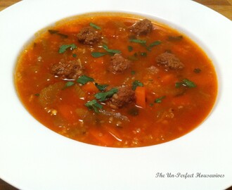 "Tunisian Tomato Soup with Vegetables, Barley Semolina & Meatballs, ""Chorbet Frik"""