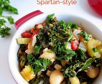 Easy Vegan and Gluten Free Spartan-Style White Beans and Greens (Fasolia me Horta + Meatless Monday)