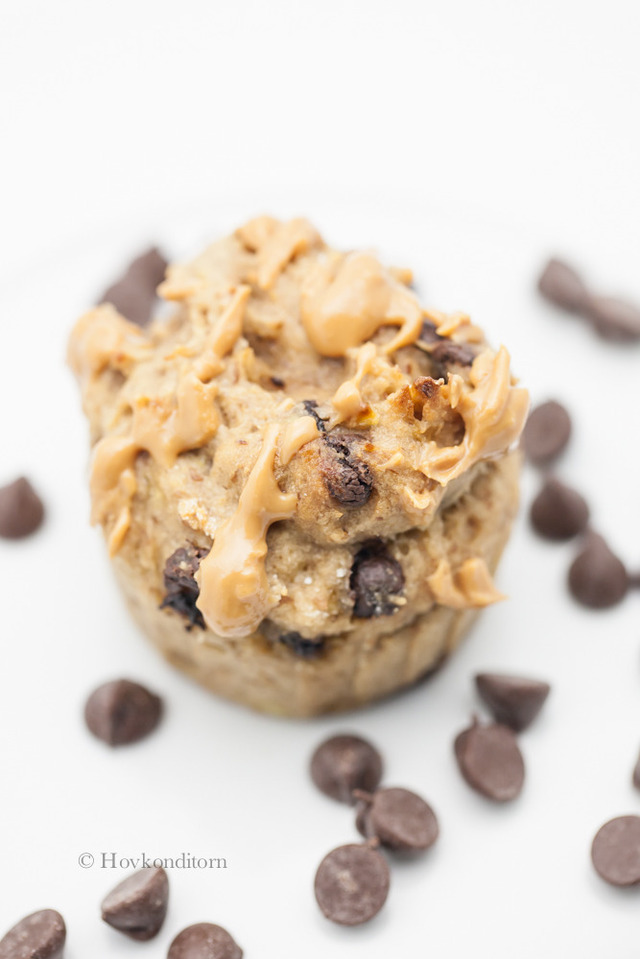 Chocolate Chip Banana Peanut Butter Muffins