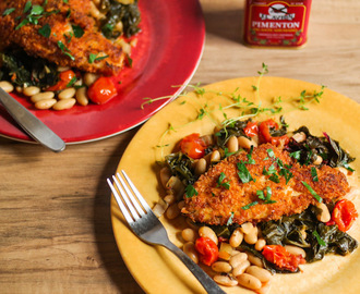 Spanish Fish With Chard, Cannelini, & Tomatoes