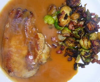 Festive Pork Chop's in an Orange Sauce with Sauteed Brussel Sprout's and Chesnut's Recipe