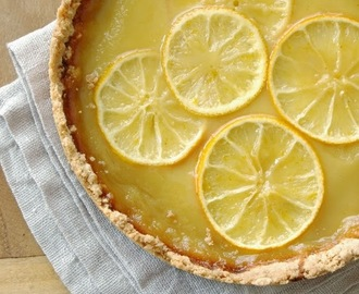 lemon and honey tart with salted shortbread crust