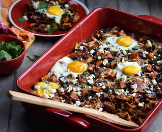 Roasted Sweet Potato & Black Bean Chilaquiles