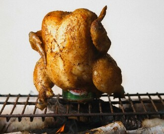 Beer Can Chicken with Peanut Butter Grilling Sauce by Elizabeth Karmel