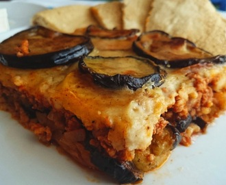 Classic Greek moussaka (μουσακάς) with béchamel sauce
