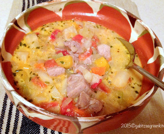 Traditional Romanian Pork Soup with Vegetables