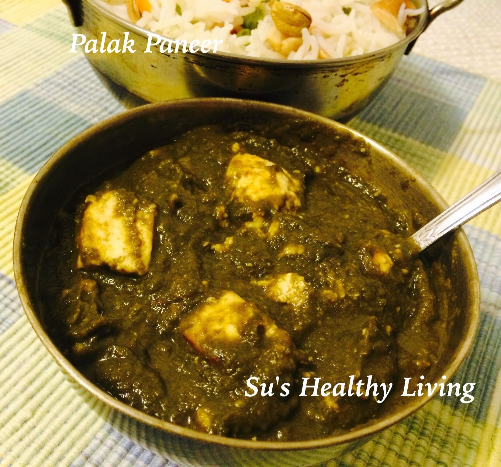 Quick Palak Paneer( Indian cottage cheese cubes in spinach gravy).