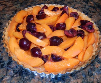 Fresh Apricot and Cherry Marzipan Tart