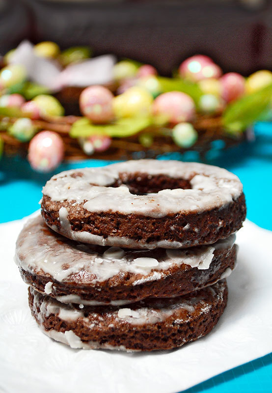 Baked Chocolate Donuts with Powdered Sugar Glaze