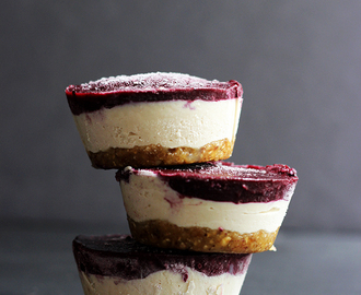 Vegan Mini Blueberry Cheesecakes