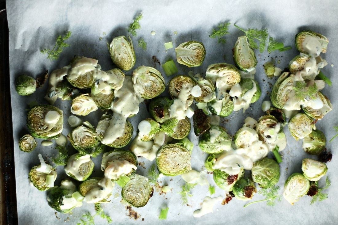 Roasted Brussels Sprouts with Mustard Cream Sauce and Fresh Dill