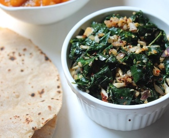 Agathi Keerai Poriyal Recipe / Stir - Fried Spinach with Garlic & Coconut