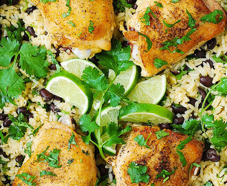 One-Pan Chicken Thighs with Cilantro-Lime Black Bean Rice