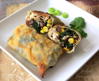 Baked Chicken & Spinach Egg Rolls