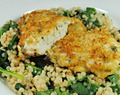 Parmesan Crusted Baked Lemon-Basil Chicken with Creamy Pearl Couscous