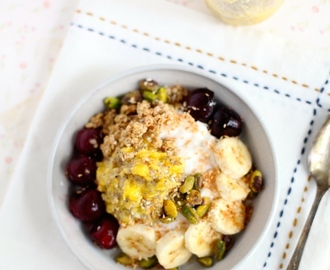 Mango Chia Jam & Sweet Cherry Breakfast Bowl