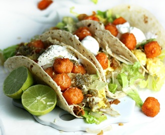 Breakfast Tacos with Sweet Potato Tater Tots, Scrambled Eggs and Salsa Verde