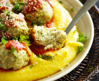 Baked Turkey, Zucchini & Quinoa Meatballs on Creamy Polenta