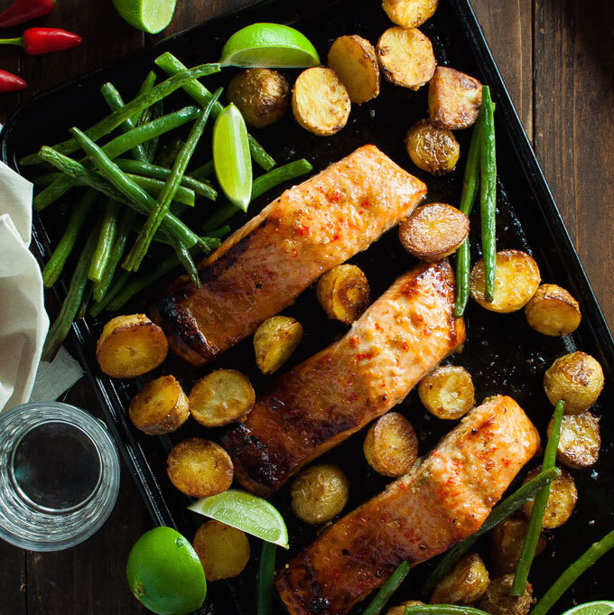 Oven Baked Honey Chili Lime Salmon with Potatoes and Beans (One Tray Meal)