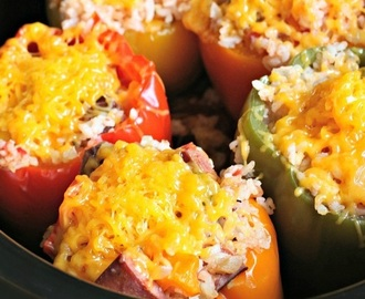 Slow Cooker Sausage Stuffed Bell Peppers