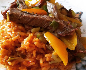 Santa Maria Tri-Tip with Sweet Peppers & Savory Mexican Rice