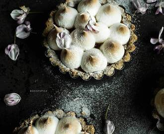 Apricot Meringue Tartlets with Amaretto and An Almond, Date, Coconut Crust