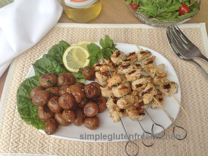 Lemon Garlic Chicken Kebabs and Roasted Potatoes