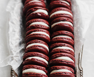 Red Velvet Macarons with cream cheese frosting