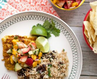 Caribbean Grilled Cod with Strawberry Mango Pico
