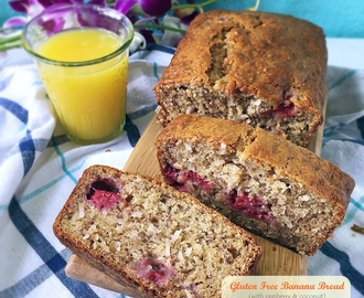 [Gluten + Dairy Free] Banana Bread With Raspberry And Coconut
