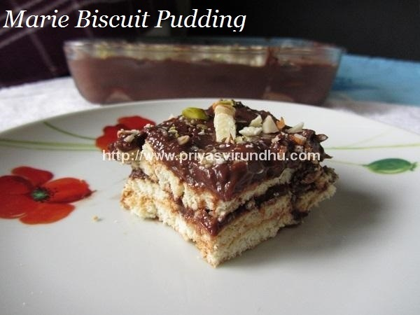 Marie Biscuit Pudding – No Bake - Eggless Marie Biscuit Pudding