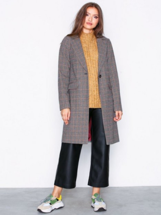 New Look Houndstooth Check Coat Kappor Brown