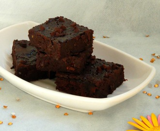 Eggless,Butterless Orange & Black Bean Brownies/Vegan Black Bean Brownies